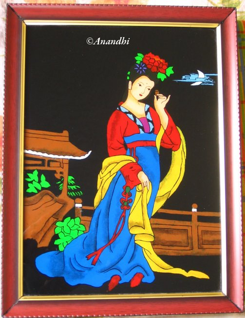 flower designs for glass painting. Glass Painting – Japanese Lady
