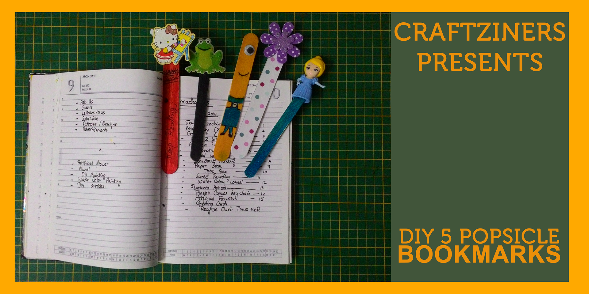 DIY: 5 Different Popsicle Bookmarks | Kids Craft | Craftziners # 1
